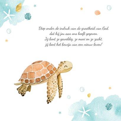 Geboortekaartje schildpad waterverf lief zeesterren krab 2