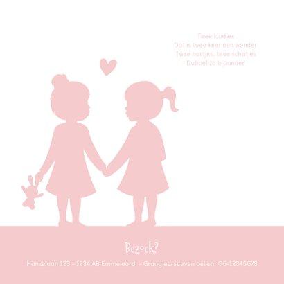 Geboortekaartje silhouet 2 meisjes tweeling kleur aanpasbaar 2