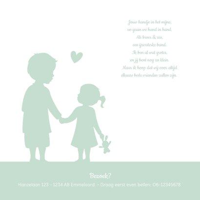 Geboortekaartje silhouet broer en zusje hand in hand 2