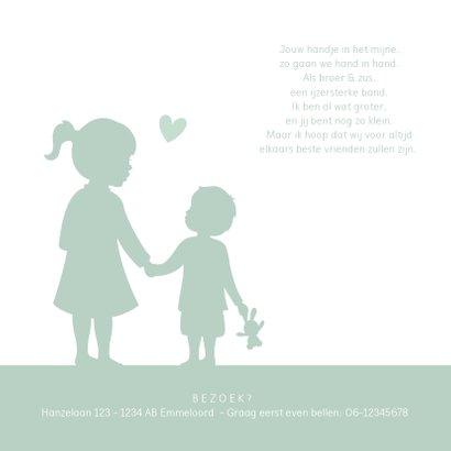 Geboortekaartje silhouet broertje met zus hand in hand 2