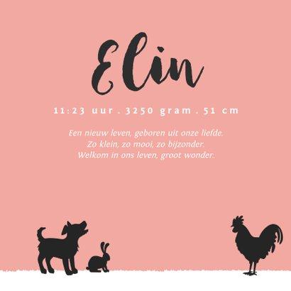 Geboortekaartje silhouet meisje met boerderijdieren 3