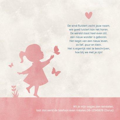 Geboortekaartje silhouet meisje met vlinders en maan 2