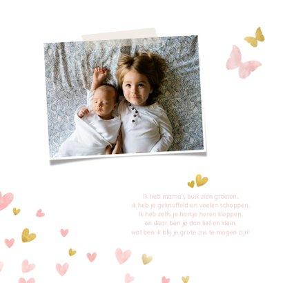 Geboortekaartje silhouet met vlinders waterverf roze en goud 2