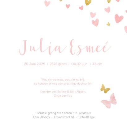 Geboortekaartje silhouet met vlinders waterverf roze en goud 3
