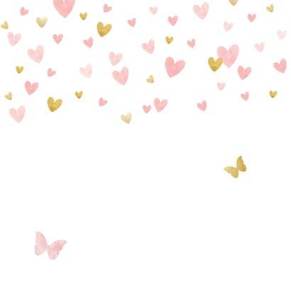Geboortekaartje silhouet met vlinders waterverf roze en goud Achterkant