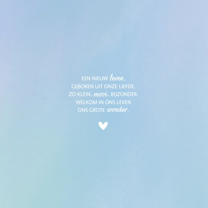 Geboortekaartje simpel wit hartje met waterverf achtergrond 2