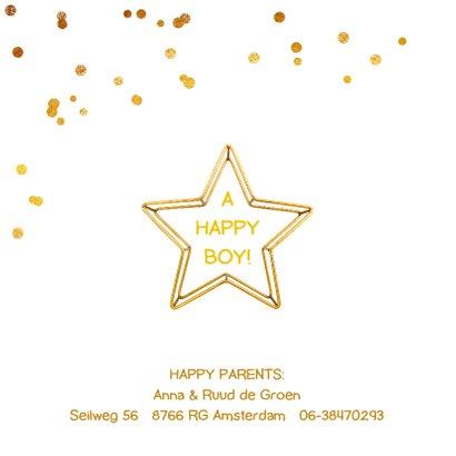 Geboortekaartje ster gouddraad jongen of meisje 2