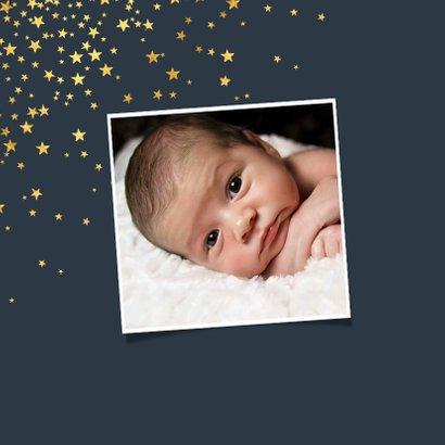 Geboortekaartje sterren goud foto stijlvol 2