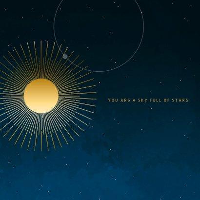 Geboortekaartje sterren maan planeten goudlook jongen 2