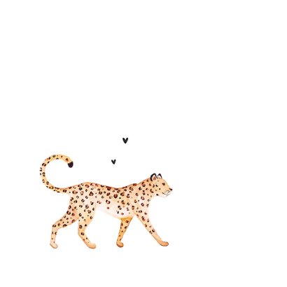 Geboortekaartje stijlvol panter luipaard klassiek hartjes 2