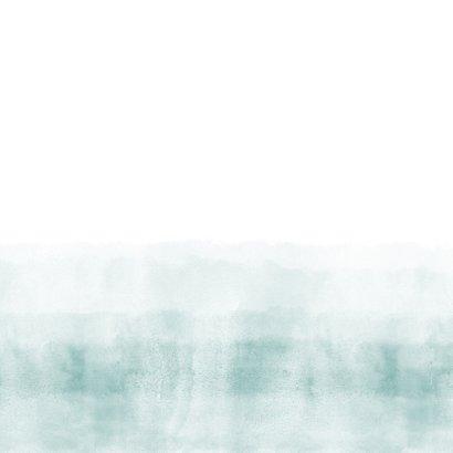 Geboortekaartje stoer blauwgroene waterverf Achterkant