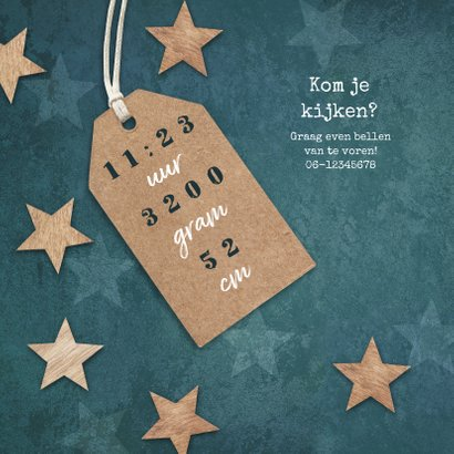 Geboortekaartje stoer jongen sterren hout label 2