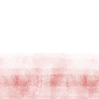 Geboortekaartje stoer roze waterverf Achterkant
