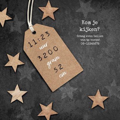 Geboortekaartje stoer sterren hout label 2