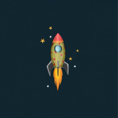 Geboortekaartje stoer voor jongen met raket en wolkje 2