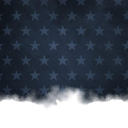 Geboortekaartje stoer waterverf blauw met sterren Achterkant