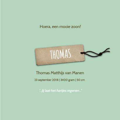 Geboortekaartje Thomas hartjes 3