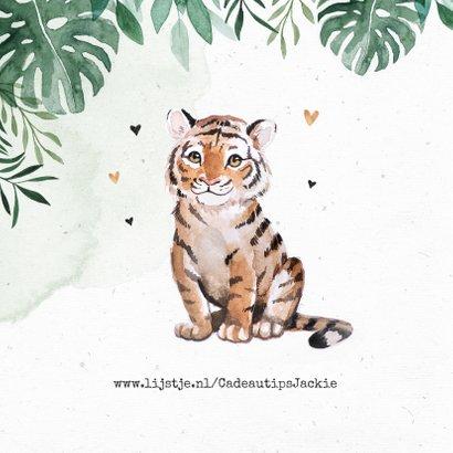 Geboortekaartje tijger jungle botanisch waterverf 2