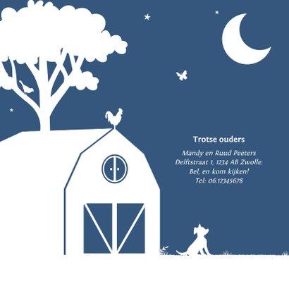 Geboortekaartje tractor blauw maan jongen dieren boerderij 2