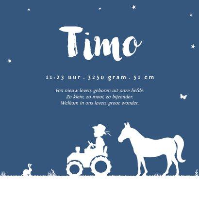 Geboortekaartje tractor blauw maan jongen dieren boerderij 3
