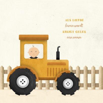Geboortekaartje tractor met baby en hekje 2