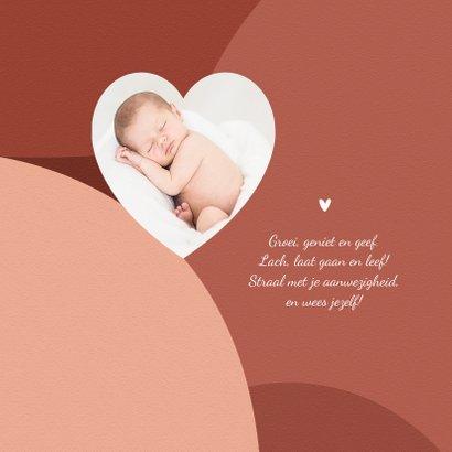 Geboortekaartje trend terra cotta stijlvol hartje goud 2