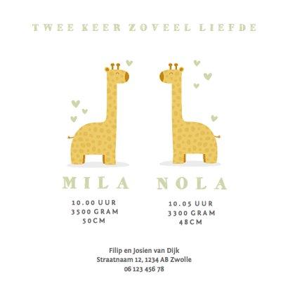 Geboortekaartje twee giraffes met hartjes 3
