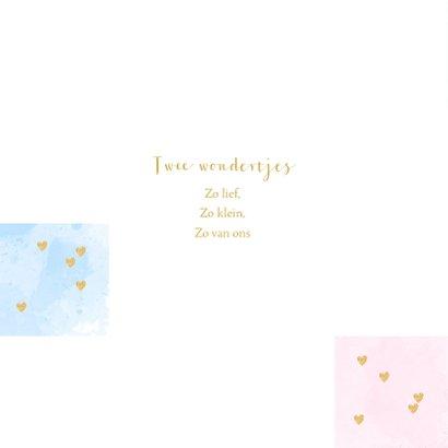 Geboortekaartje tweeling foto aquarel vakjes roze en blauw 2