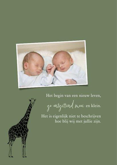 Geboortekaartje tweeling giraffen lijntekening 2