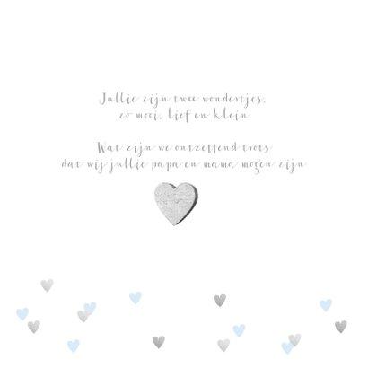 Geboortekaartje tweeling hartjes en foto lichtblauw 2