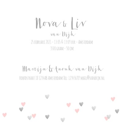 Geboortekaartje tweeling hartjes en foto roze  3