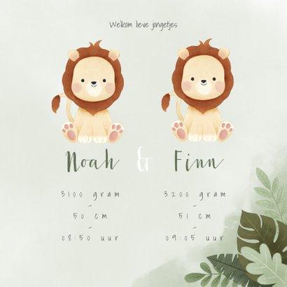 Geboortekaartje tweeling jongetje leeuwtjes jungleblad 3
