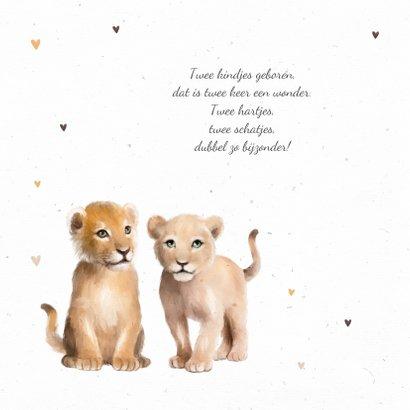 Geboortekaartje tweeling leeuw hartjes 2