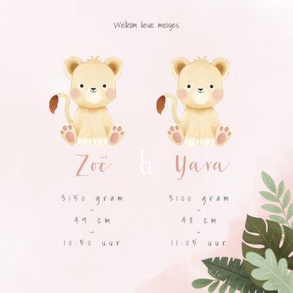 Geboortekaartje tweeling meisje leeuwtjes en junglebladeren 3