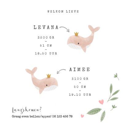 Geboortekaartje tweeling meisje walvisjes en hartjes 3