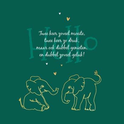 Geboortekaartje tweeling olifant dieren zusje broertje goud 2