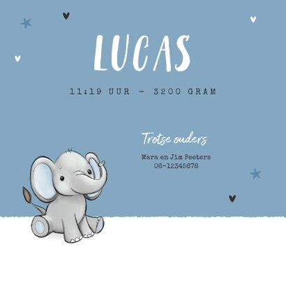 Geboortekaartje tweeling olifantjes blauw jongen sterren 2