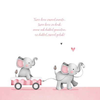 Geboortekaartje tweeling olifantjes roze hartjes wolkjes 2