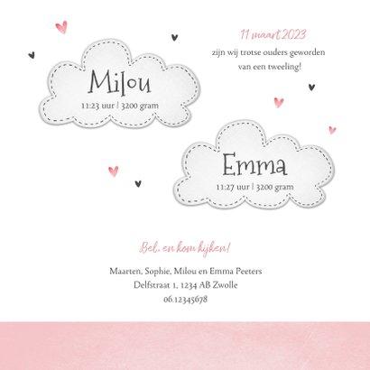Geboortekaartje tweeling olifantjes roze hartjes wolkjes 3