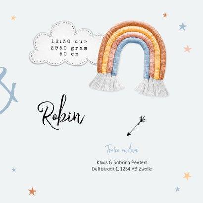 Geboortekaartje tweeling regenboog stof sterren wolken 3