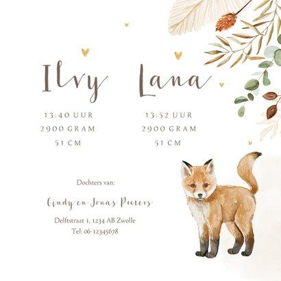 Geboortekaartje tweeling vosjes hartjes droogbloemen goud 3