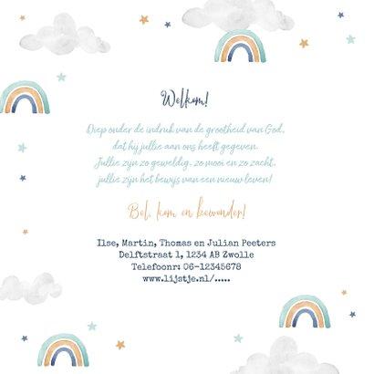 Geboortekaartje tweeling wolkje luchtballon regenboog jongen 2
