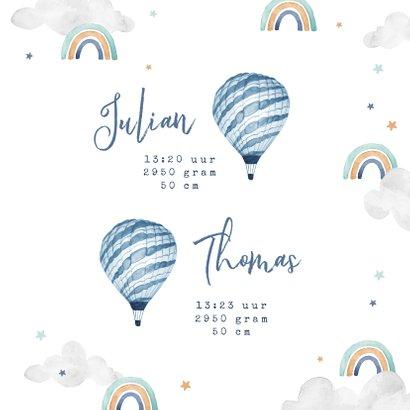 Geboortekaartje tweeling wolkje luchtballon regenboog jongen 3