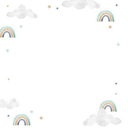 Geboortekaartje tweeling wolkje luchtballon regenboog jongen Achterkant