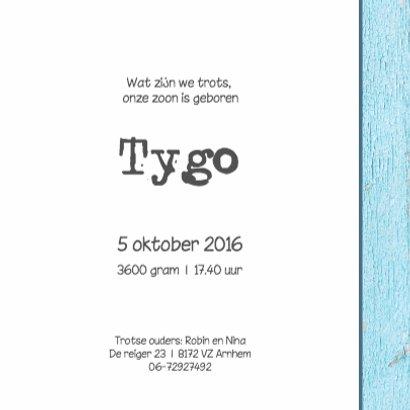 Geboortekaartje Tygo 3