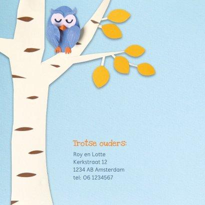 Geboortekaartje uiltje in boom blauw 2