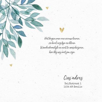 Geboortekaartje unisex bladeren hartjes goud foto 2