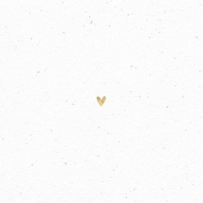 Geboortekaartje unisex bladeren hartjes goud foto Achterkant