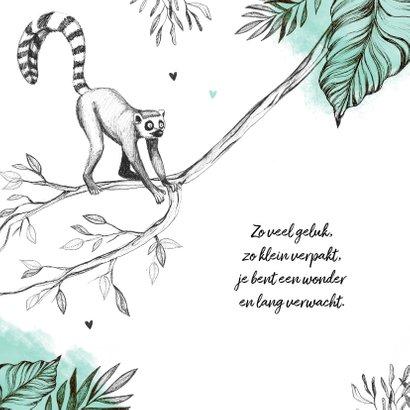 Geboortekaartje unisex dieren jungle maki mint 2