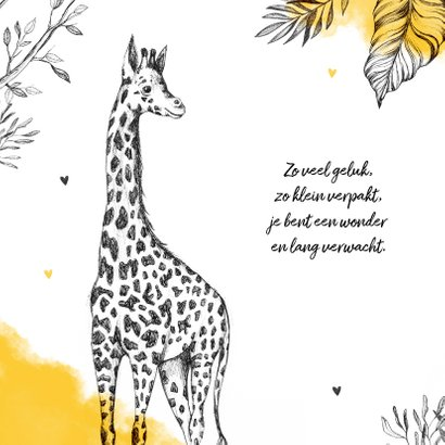 Geboortekaartje unisex giraf dieren jungle okergeel 2